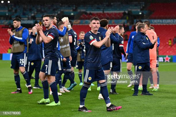 Billy Gilmour of Scotland applauds the fans after the UEFA Euro 2020 Championship Group D match between England and Scotland at Wembley Stadium on...
