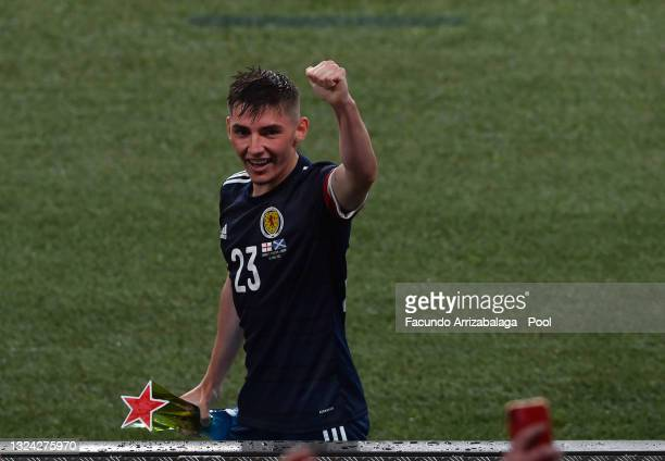 """Billy Gilmour of Scotland celebrates as he walks off after being awarded with their Heineken """"Star of the Match"""" award after the UEFA Euro 2020..."""