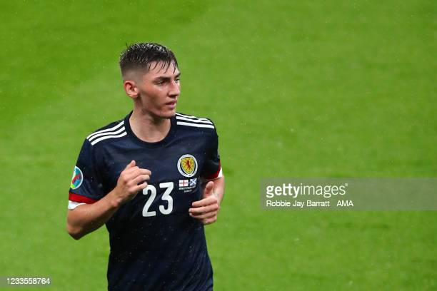 Billy Gilmour of Scotland during the UEFA Euro 2020 Championship Group D match between England and Scotland at Wembley Stadium on June 18, 2021 in...