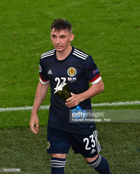 """Billy Gilmour of Scotland walks off after being awarded with their Heineken """"Star of the Match"""" award after the UEFA Euro 2020 Championship Group D..."""