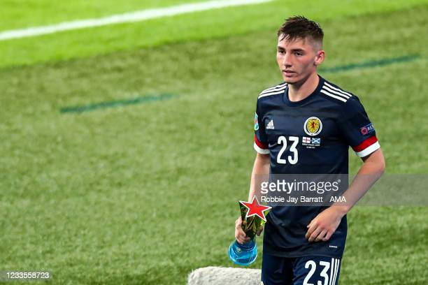 Billy Gilmour of Scotland with the man of the match trophy during the UEFA Euro 2020 Championship Group D match between England and Scotland at...