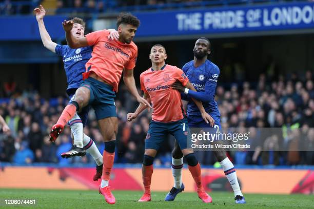 Billy Gimour of Chelsea Dominic CalvertLewin of Everton Richarlison of Everton and Antonio Rudiger of Chelsea during the Premier League match between...
