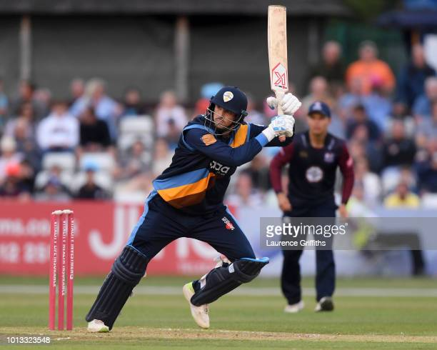 Billy Godleman of Derbyshire Falcons hits out to the boundary during the Vitality Blast match between Derbyshire Falcons and Northampton Steelbacks...