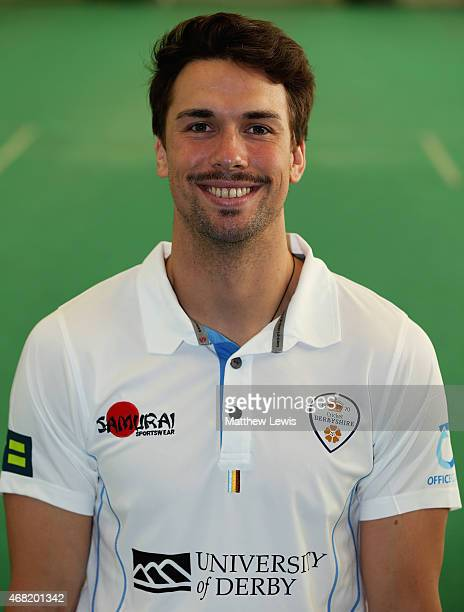 Billy Godleman of Derbyshire pictured during a Derbyshire CCC Photocall at The 3aaa County Ground on March 31 2015 in Derby England
