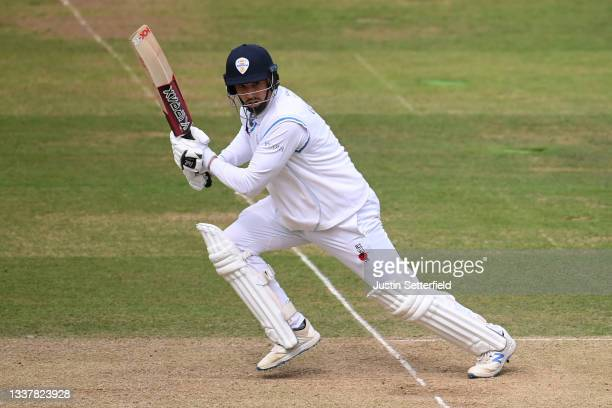 Billy Godleman of Derbyshire plays a shot during Day four of the LV= Insurance County Championship between Middlesex and Derbyshire at Lord's Cricket...