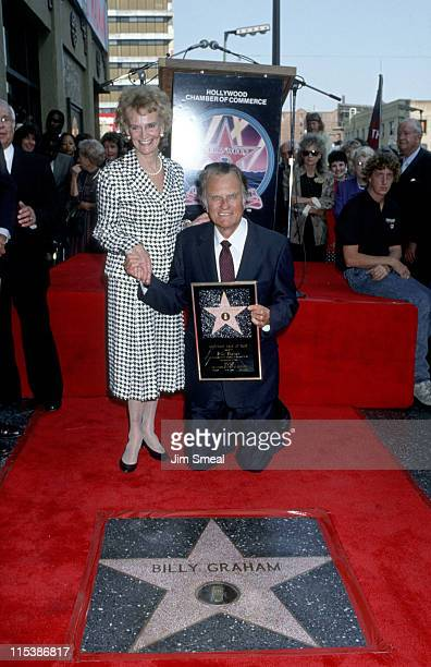 Billy Graham and wife Ruth during Billy Graham Honored with a Star on the Hollywood Walk of Fame at 6901 Hollywood Blvd. In Hollywood, California,...