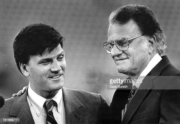 71987 Billy Graham introduced his son Franklin Graham Billy said that his son was the only member of his family that was on the board of the Crusade...
