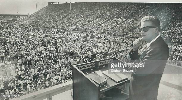 Billy Graham left leading a crusade in the CNE grandstand His religious broadcasts are aired in Canada by 80 radio 30 TV outlets