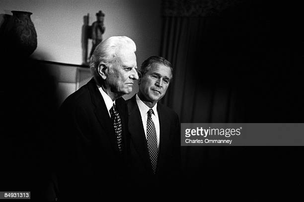 Billy Graham meets privately with Texas Governor and Republican presidential candidate George W Bush November 5 2000 in Jacksonville Florida Graham...