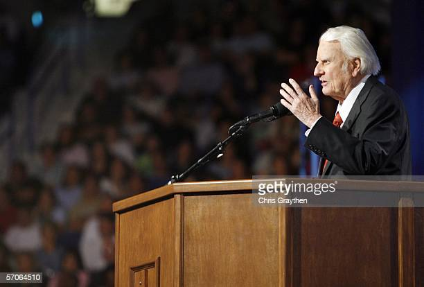 Billy Graham preaches during the Celebration of Hope on March 12 2006 at the New Orleans Arena in New Orleans Louisiana This was the first time Billy...
