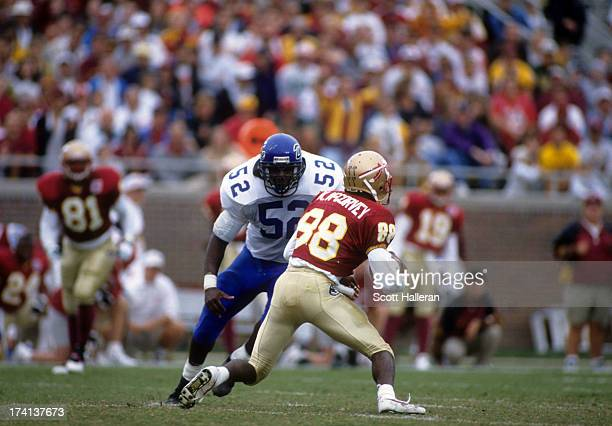 Billy Granville of the Duke Blue Devils looks to make the tackle on Kez McCorvey of the Florida State Seminoles on October 29, 1994 at the Doak S....