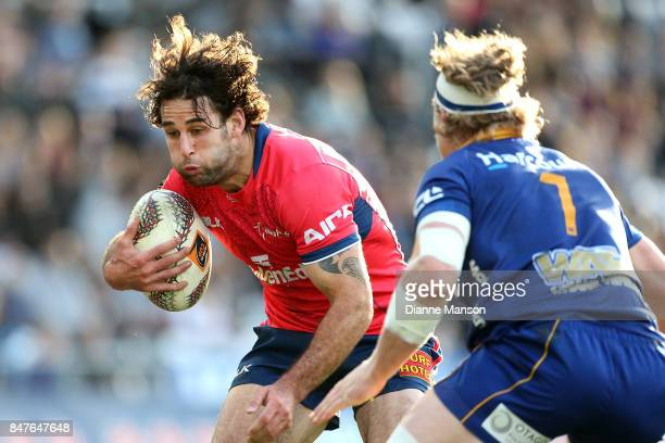 Billy Guyton of Tasman runs the ball during the round five Mitre 10 Cup match between Otago and Tasman Forsyth Barr Stadium on September 16 2017 in...