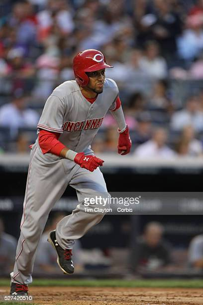 Billy Hamilton, Cincinnati Reds, sets off from home plate but watches his hit go straight to Mark Teixeira for the out during the New York Yankees Vs...