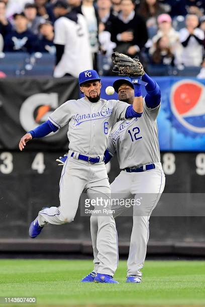 Billy Hamilton misses the catch as Jorge Soler of the Kansas City Royals makes the error during the second inning on a hit by Clint Frazier of the...