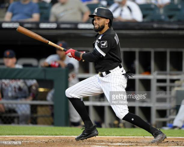 Billy Hamilton of the Chicago White Sox bats against the Detroit Tigers on June 3, 2021 at Guaranteed Rate Field in Chicago, Illinois.