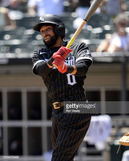 Billy Hamilton of the Chicago White Sox bats against the Detroit Tigers on June 5, 2021 at Guaranteed Rate Field in Chicago, Illinois. The White Sox...