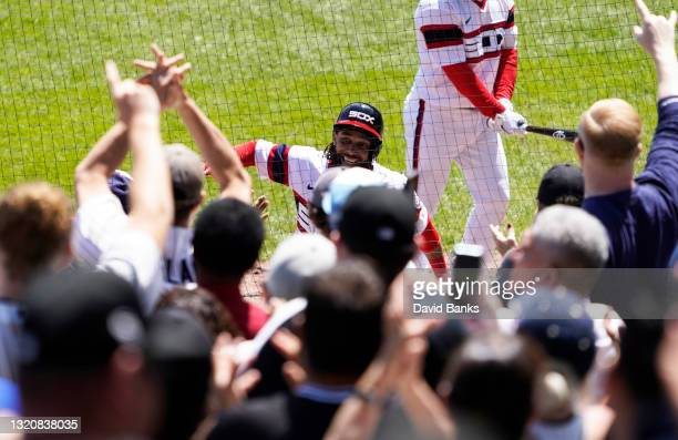 Billy Hamilton of the Chicago White Sox is greeted after hitting a home run against the Baltimore Orioles during the third inning at Guaranteed Rate...