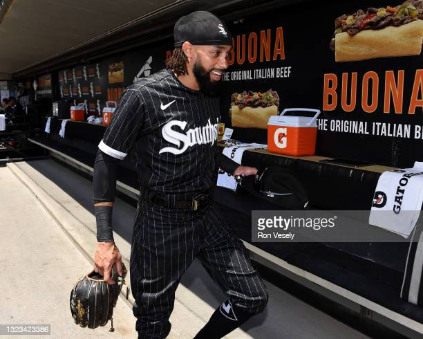 Billy Hamilton of the Chicago White Sox looks on against the Detroit Tigers on June 5, 2021 at Guaranteed Rate Field in Chicago, Illinois. The White...