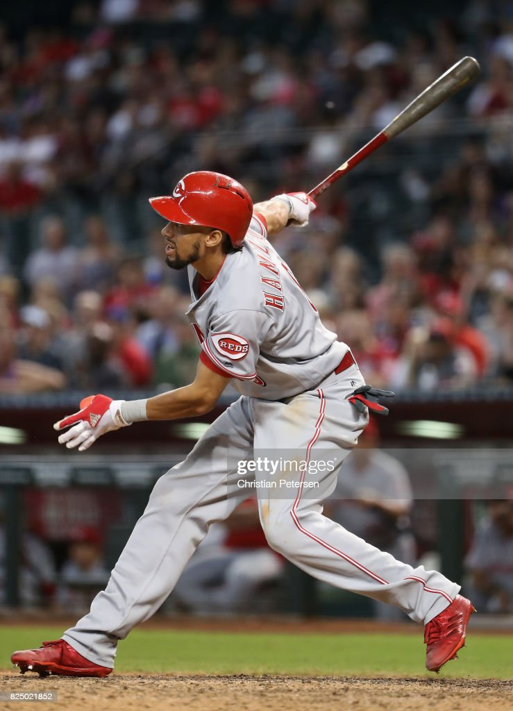 Billy Hamilton #6 of the Cincinnati Reds bats against the Arizona Diamondbacks during the MLB game at Chase Field on July 9, 2017 in Phoenix, Arizona. The Reds defeated the Diamondbacks 2-1.