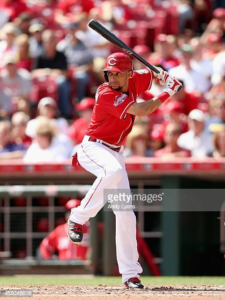 Billy Hamilton of the Cincinnati Reds bats during the game against the St Louis Cardinals at Great American Ball Park on September 13 2015 in...