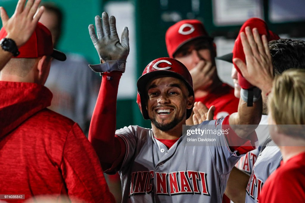 Billy Hamilton #6 of the Cincinnati Reds celebrates scoring against the Kansas City Royals during the eighth inning at Kauffman Stadium on June 13, 2018 in Kansas City, Missouri.