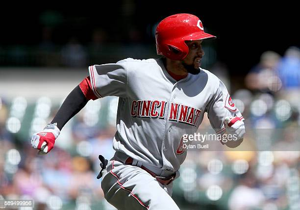 Billy Hamilton of the Cincinnati Reds hits a double in the first inning against the Milwaukee Brewers at Miller Park on August 14 2016 in Milwaukee...
