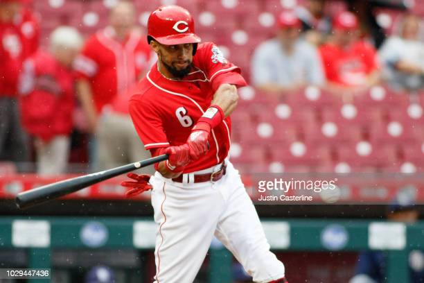 Billy Hamilton of the Cincinnati Reds hits a fly ball in the second inning at Great American Ball Park on September 8 2018 in Cincinnati Ohio
