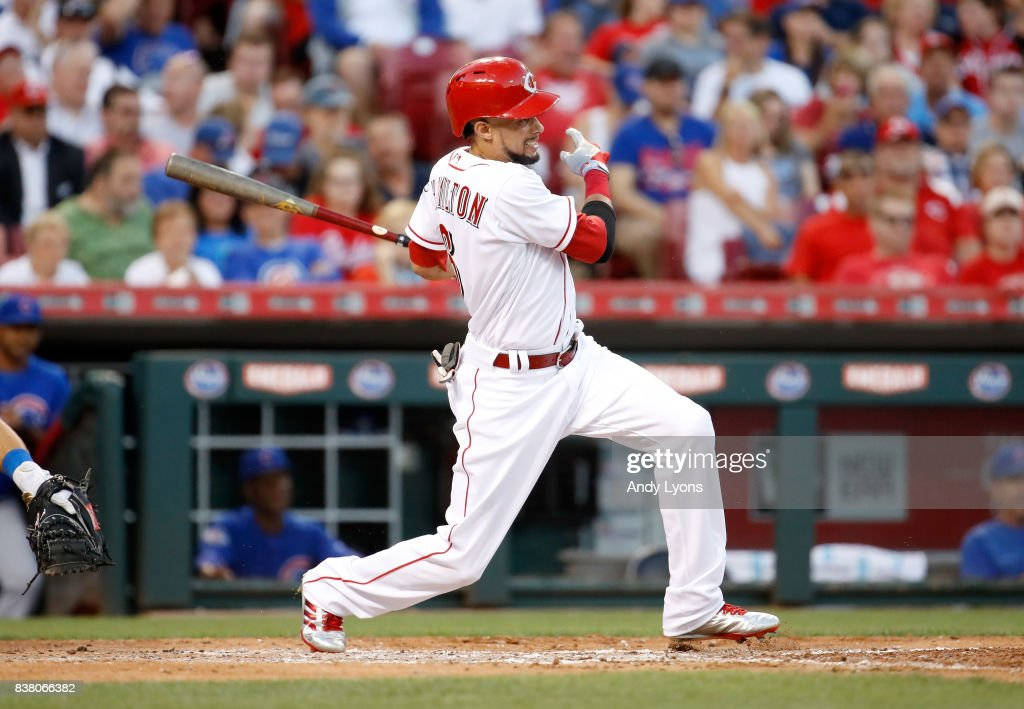 Billy Hamilton #6 of the Cincinnati Reds hits a single in the third inning against the Chicago Cubs at Great American Ball Park on August 23, 2017 in Cincinnati, Ohio.