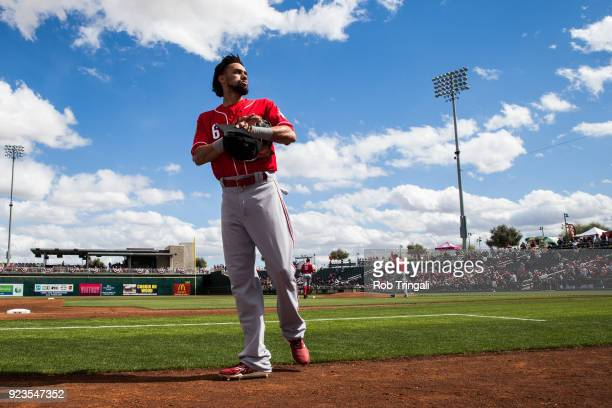 Billy Hamilton of the Cincinnati Reds looks on against the Cleveland Indians during a Spring Training Game at Goodyear Ballpark on February 23 2018...