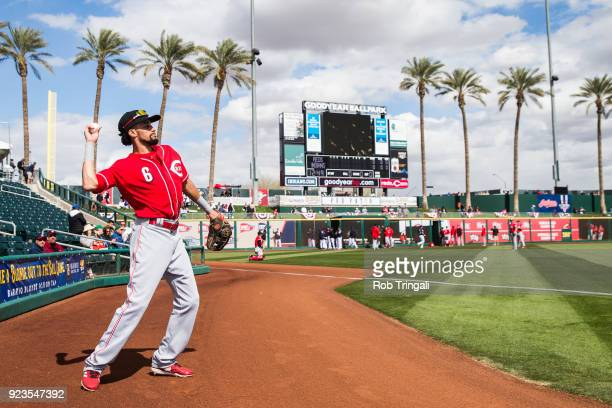Billy Hamilton of the Cincinnati Reds looks on before a game against the Cleveland Indians during a Spring Training Game at Goodyear Ballpark on...