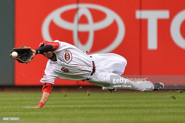Billy Hamilton of the Cincinnati Reds makes a diving catch of a hit off the bat of Starling Marte of the Pittsburgh Pirates to end the fourth inning...