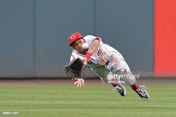 Billy Hamilton of the Cincinnati Reds makes a diving catch of a line drive from Matt Adams of the St Louis Cardinals in the fifth inning at Great...