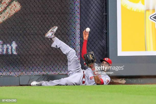 Billy Hamilton of the Cincinnati Reds makes a play against the Kansas City Royals during the ninth inning at Kauffman Stadium on June 13 2018 in...