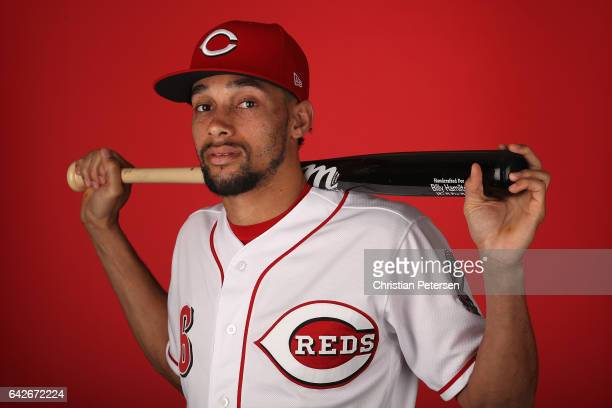 Billy Hamilton of the Cincinnati Reds poses for a portait during a MLB photo day at Goodyear Ballpark on February 18 2017 in Goodyear Arizona