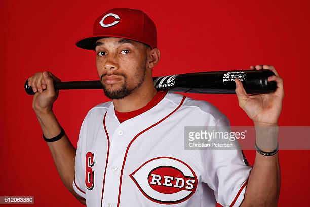 Billy Hamilton of the Cincinnati Reds poses for a portrait during spring training photo day at Goodyear Ballpark on February 24 2016 in Goodyear...