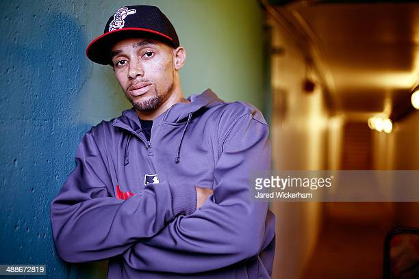 Billy Hamilton of the Cincinnati Reds poses for a portrait prior to the interleague game against the Boston Red Sox at Fenway Park on May 7 2014 in...