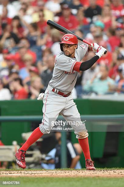Billy Hamilton of the Cincinnati Reds prepares for a pitch during a baseball game against the Washington Nationals at Nationals Park on July 1, 2016...