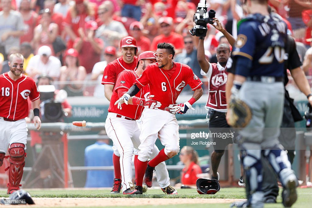 Billy Hamilton #6 of the Cincinnati Reds reacts after scoring the winning run on a wild pitch in the ninth inning against the Milwaukee Brewers at Great American Ball Park on July 17, 2016 in Cincinnati, Ohio. The Reds defeated the Brewers 1-0.