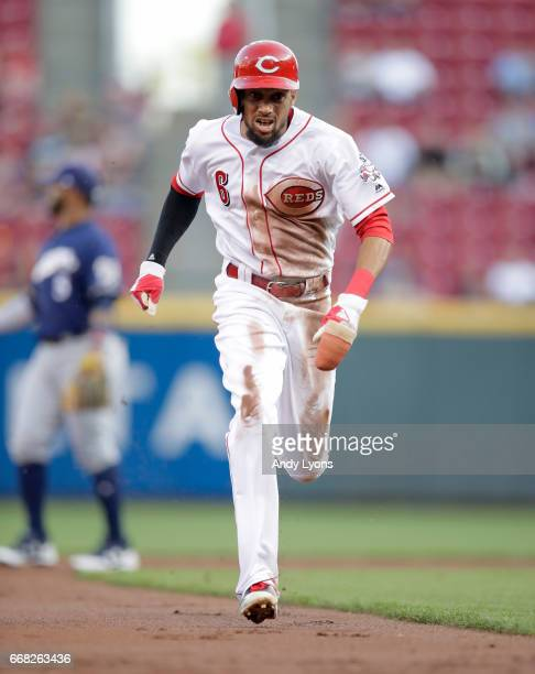 Billy Hamilton of the Cincinnati Reds runs to third base in the first inning against the Milwaukee Brewers at Great American Ball Park on April 13...