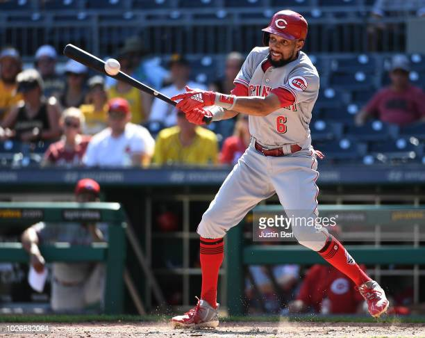 Billy Hamilton of the Cincinnati Reds singles on a ground ball back to Kyle Crick of the Pittsburgh Pirates in the eighth inning during the game at...
