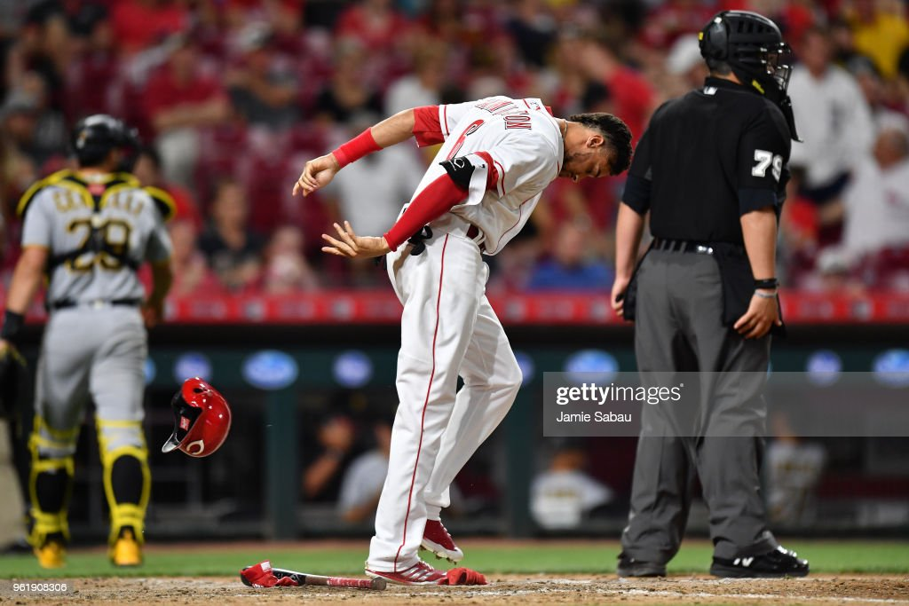 Billy Hamilton #6 of the Cincinnati Reds slams his helmet to the ground after striking out to end the seventh inning against the Pittsburgh Pirates at Great American Ball Park on May 23, 2018 in Cincinnati, Ohio. Pittsburgh defeated Cincinnati 5-4 in 12 innings.