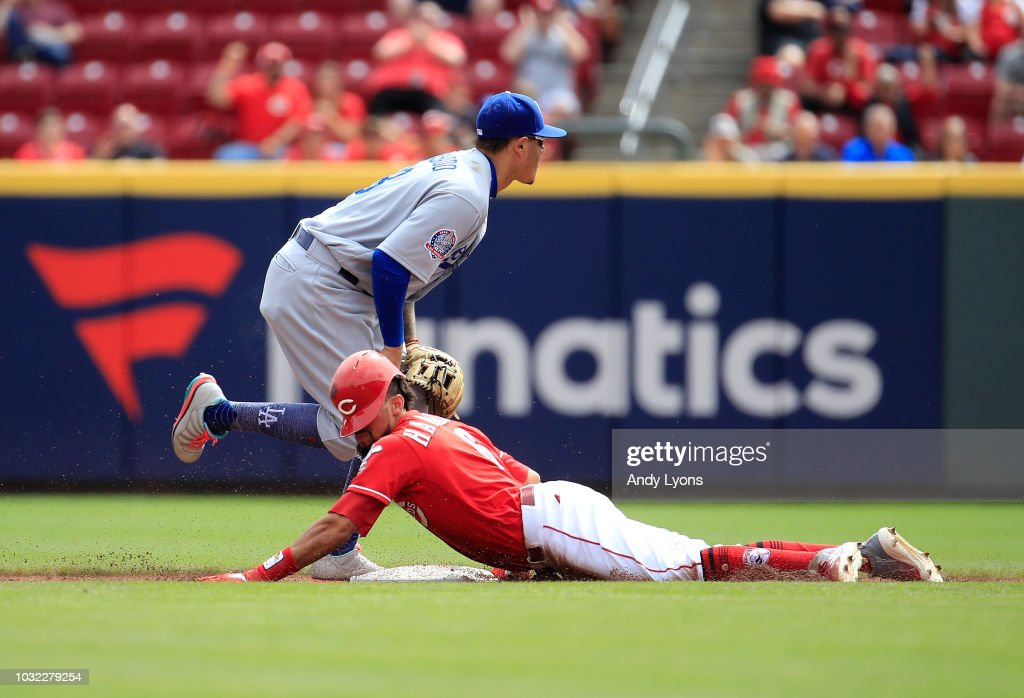 Billy Hamilton #6 of the Cincinnati Reds slides into second base for a double in the third inning against the Los Angeles Dodgers at Great American Ball Park on September 12, 2018 in Cincinnati, Ohio.