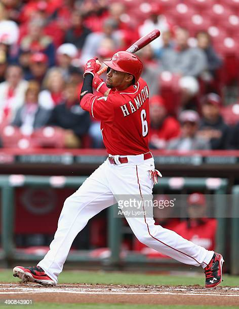 Billy Hamilton of the Cincinnati Reds swings at a pitch in the first inning during the first game of a doubleheader against the San Diego Padres at...
