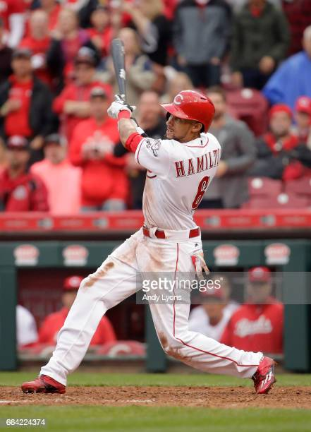 Billy Hamilton of the Cincinnati Reds swings at a pitch in the ninth inning against the Philadelphia Phillies on Opening Day for both teams at Great...