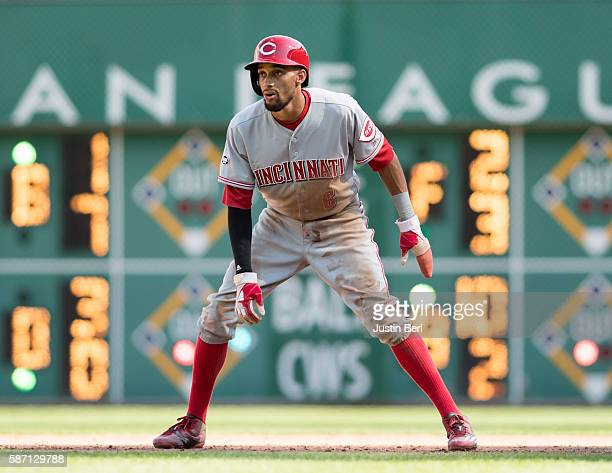 Billy Hamilton of the Cincinnati Reds takes a leads off of first base in the seventh inning during the game against the Pittsburgh Pirates at PNC...