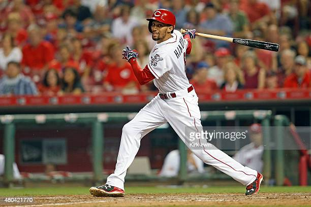 Billy Hamilton of the Cincinnati Reds takes an at bat during the game against the Milwaukee Brewers at Great American Ball Park on July 4 2015 in...