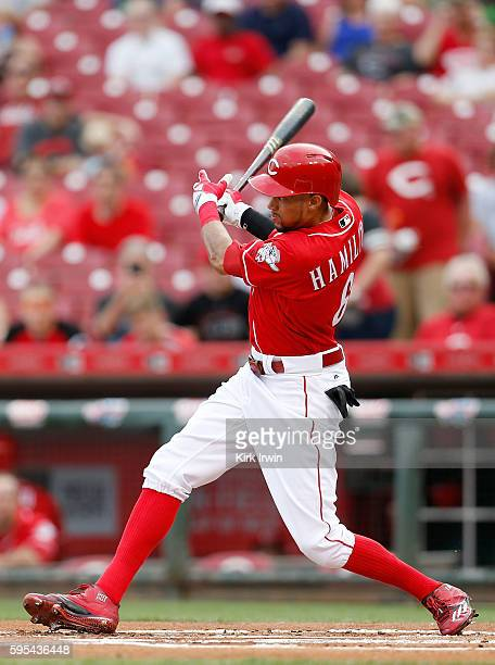 Billy Hamilton of the Cincinnati Reds takes hits the ball during the game against the Miami Marlins at Great American Ball Park on August 18 2016 in...