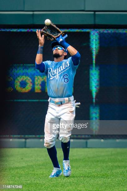 Billy Hamilton of the Kansas City Royals catches a Chicago White Sox fly ball ball at Kauffman Stadium on June 09 2019 in Kansas City Missouri