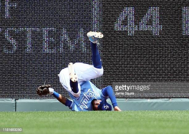 Billy Hamilton of the Kansas City Royals falls to the ground after making a catch against the center field wall during the 5th inning of the game...