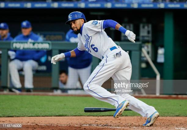 Billy Hamilton of the Kansas City Royals heads to first on a fielders choice in the third inning during the game against the Los Angeles Angels of...